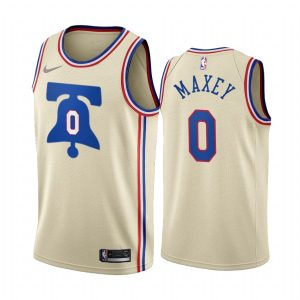 tyrese maxey 76ers 2020 21 earned edition cream jersey