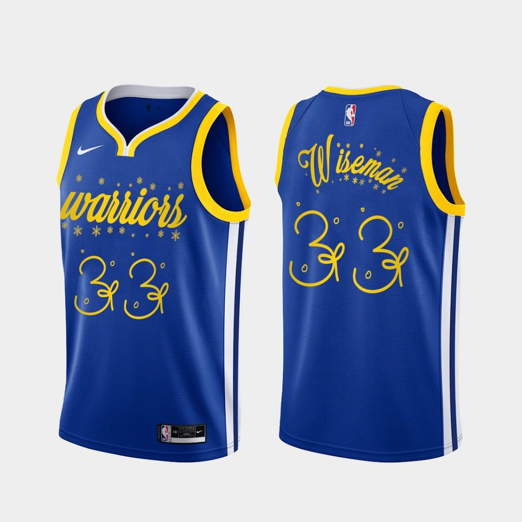 warriors james wiseman royal 2020 christmas night festive special edition jersey