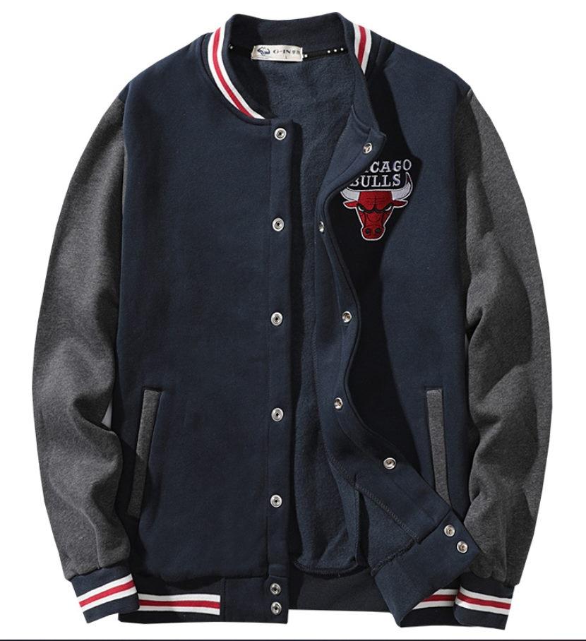 2019 NBA Chicago Bulls Navy White Bomber Jacket 1
