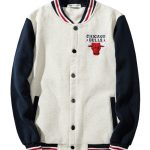 2019 NBA Chicago Bulls Navy White Bomber Jacket 2