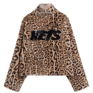 2020 Brooklyn Nets Leopard Short Fur Coat Womens 2