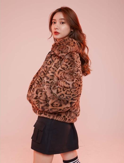 2020 Brooklyn Nets Leopard Short Fur Coat Womens 5