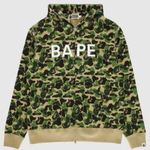 BAPE ABC Camo BAPE Swarovski Full Zip Hoodie Green 1