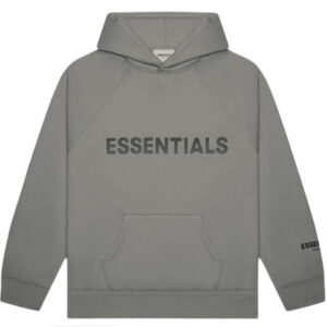 FEAR OF GOD ESSENTIALS 3D Silicon Applique Pullover Hoodie Gray FlannelCharcoal 1