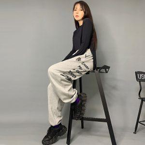 2020 Charm Hip hop Style Sweatpants Grey 2