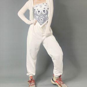 2020 Hip hop Sweatpants Monochromatic White 1