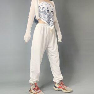 2020 Hip hop Sweatpants Monochromatic White 2