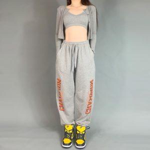 2021 Champion Hip hop Style Sweatpants Grey 2