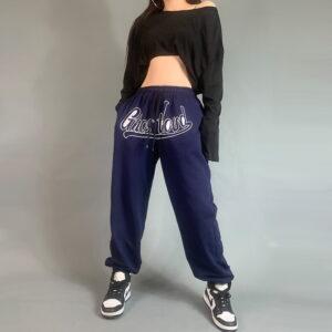 2021 Ghostland Hip hop Style Sweatpants Navy Coral 2