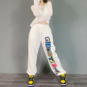 2021 Ghostlove Hip hop Style Sweatpants White 2