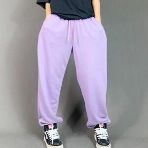 2021 Hip hop Style Sweatpants Monochromatic Purple 2