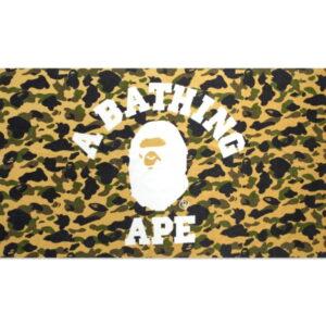 BAPE 1st Camo College Logo Beach Towel Yellow 1