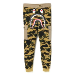 BAPE 1st Camo Shark Slim Sweat Cargo Pants Yellow 1