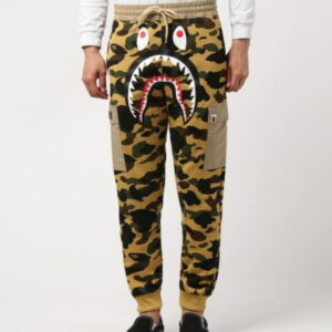 BAPE 1st Camo Shark Slim Sweat Cargo Pants Yellow 2
