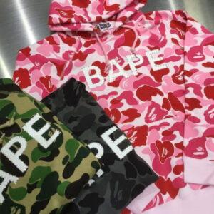 BAPE ABC Camo BAPE Swarovski Full Zip Hoodie Pink 2