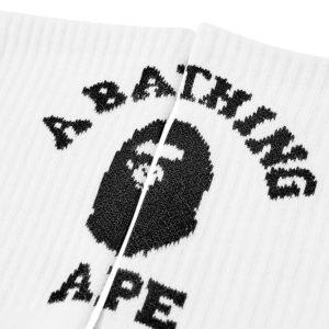 BAPE College Socks White Black 2