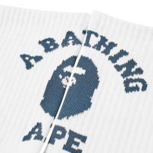 BAPE College Socks White Navy 2