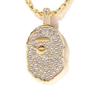 BAPE Rhinestone Ape Head Necklace Gold 1