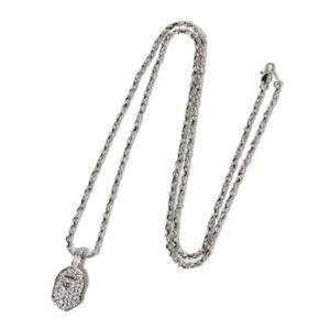 BAPE Rhinestone Ape Head Necklace Silver 2