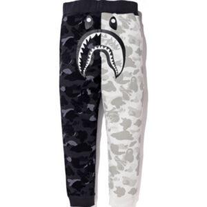 BAPE x Neighborhood Split Camo Shark Sweatpants Black White 1