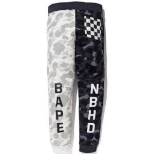 BAPE x Neighborhood Split Camo Shark Sweatpants Black White 2
