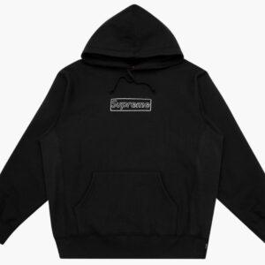Supreme Kaws Chalk Logo Hoodie Black 1