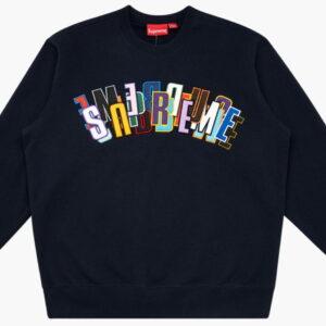 Supreme Stacked Crewneck Sweatshirt Navy 1