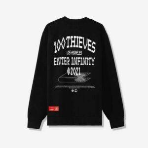 100 Thieves Enter Infinity Crewneck Black 1