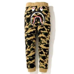 BAPE 1St Camo Shark Slim Sweatpants Yellow Black 1