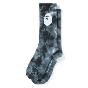 BAPE A Bathing Ape Men Ape Head Tie Dye Socks Black 1