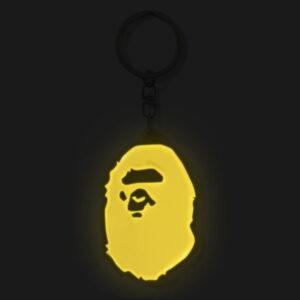BAPE Ape Head Reflective Keychain Yellow 2