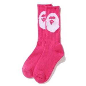 BAPE Big Ape Head Socks Pink 1