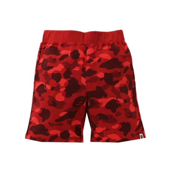 BAPE Color Camo Sweat Shorts Red SS21 1