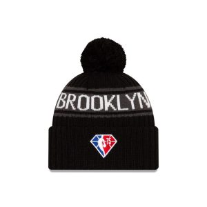New Era Brooklyn Nets 2021 Draft Edition Pom Knit NBA Beanie 2