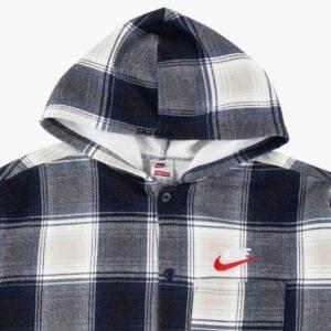 Supreme x Nike Plaid Hooded Sweatshirt Navy 1