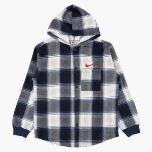 Supreme x Nike Plaid Hooded Sweatshirt Navy