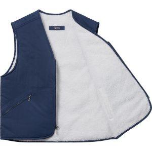 Supreme x Nike Reversible Nylon Sherpa Vest Navy 1