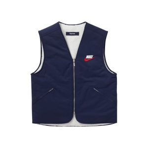 Supreme x Nike Reversible Nylon Sherpa Vest Navy