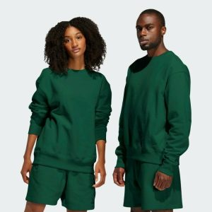 adidas Pharrell Williams Basics Crewneck Sweatshirt Dark Green 2