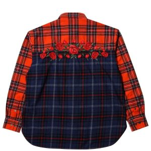 Awake Embroidered Rose Flannel Shirt Red 1