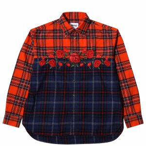 Awake Embroidered Rose Flannel Shirt Red
