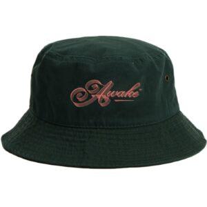 Awake Ribbon Script Logo Bucket Hat Dark Green 1.2