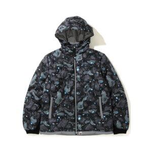 BAPE Space Camo Hoodie Down Jacket Black