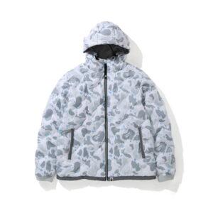 BAPE Space Camo Hoodie Down Jacket White