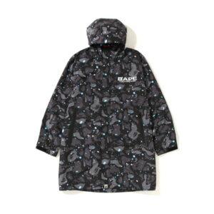 BAPE Space Camo Long Hoodie Jacket Black