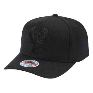 Mitchell Ness Milwaukee Bucks All Black Classic Red A Frame NBA Snapback Hat