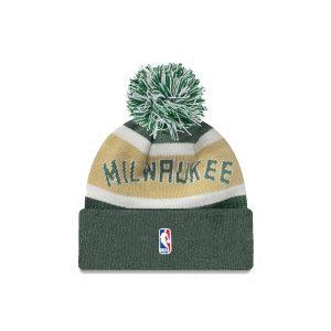New Era Milwaukee Bucks Wordmark Pom Knit NBA Beanie 1
