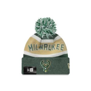New Era Milwaukee Bucks Wordmark Pom Knit NBA Beanie