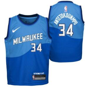 Nike Giannis Antetokounmpo Milwaukee Bucks City Edition Boys NBA Jersey