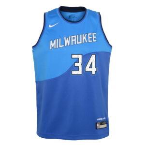 Nike Giannis Antetokounmpo Milwaukee Bucks City Edition Youth NBA Swingman Jersey 1